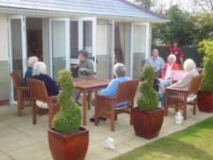 Residents enjoying the outdoors at Castle Hill House